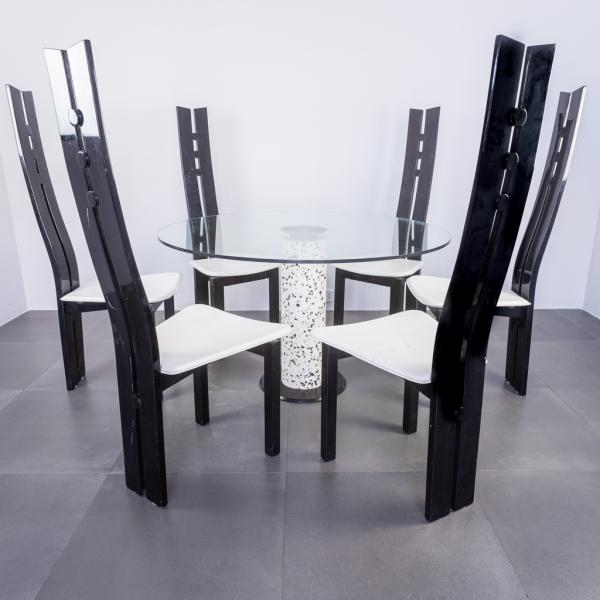 Set da pranzo tavolo sei sedie tavolo in vetro design anni '80