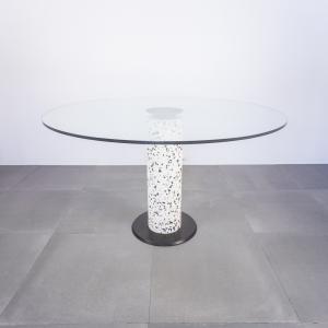 Tavolo da pranzo rotondo in vetro e pietra design anni '70