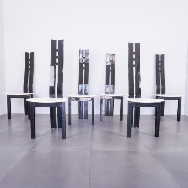 Set sei sedie legno laccato stile Cardin design anni '80