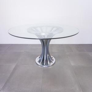 Tavolo tondo in vetro metallo cromato design anni '70