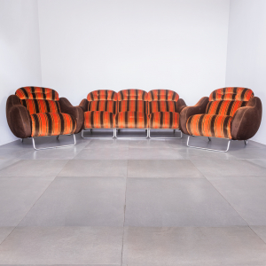 Set divano 2 poltrone in velluto fantasia design anni '70