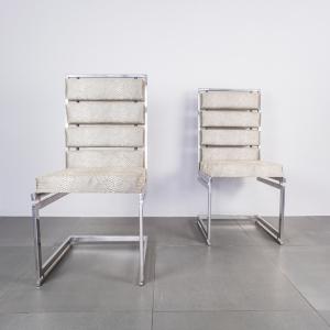 Coppia di sedie in acciaio cromato Romeo Rega design anni '70