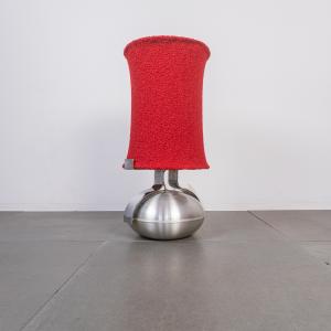Lampada da tavolo metallo paralume bouclé design anni '70