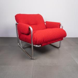 Poltrona metallo tubolare bouclé rosso design anni '70
