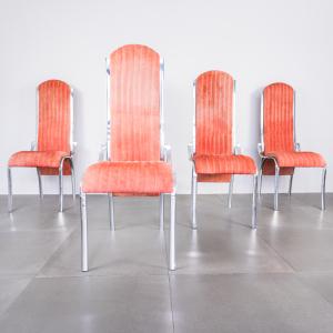Set quattro sedie curve alcantara rosso metallo design anni '70