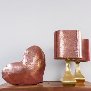 Coppia lampade da tavolo cuscino paillettes design anni '70