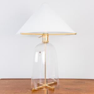 Lampada da tavolo ovale vetro di murano Moretti design anni' 70
