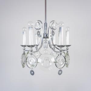 Lampadario metallo cromato 7 luci Torlasco design anni '70