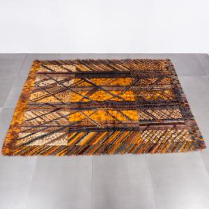 Tappeto rettangolare in lana pelo lungo fantasia design anni '70