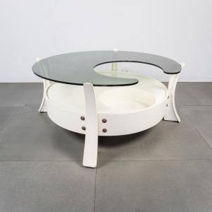 Tavolino da caffè in legno vetro fume' design anni '70