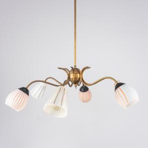 Lampadario 6 luci ottone vetro anni' 50 Vintage Modernariato