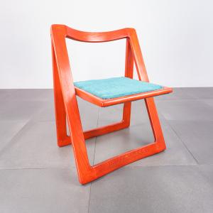 Set 4 sedie pieghevoli Trieste Jacober Bazzani anni '70 Vintage Modernariato