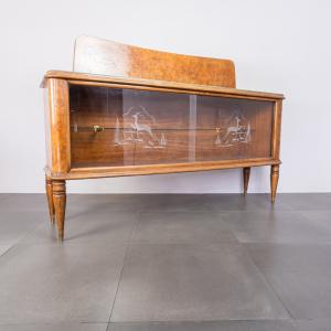 Sideboard credenza legno radica e vetro anni '50 Vintage Modernariato