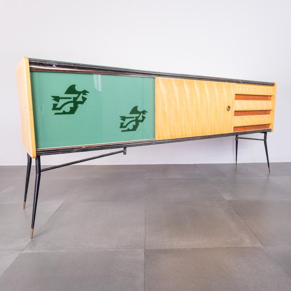 Sideboard legno laccato vetro anni '50 Vintage Modernariato