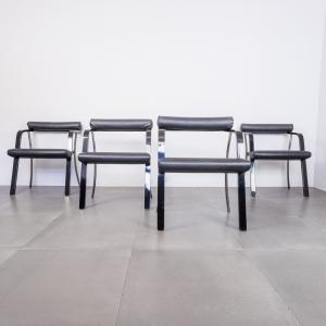 Set 4 sedie legno laccato sky nero anni '60 Vintage Modernariato