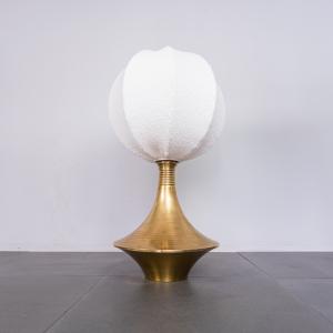 Lampada da tavolo ottone bouclé Lamperti anni '70 Vintage Modernariato