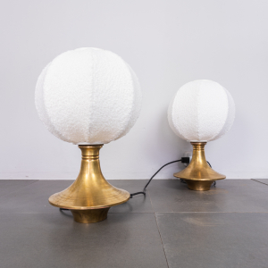 Coppia di lampade da tavolo ottone Lamperti anni '70 Vintage Modernariato