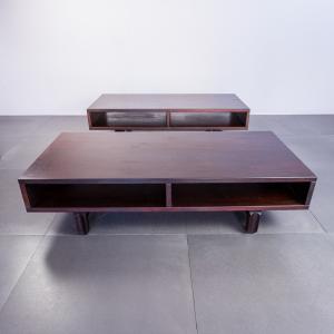 Coppia di tavolini da caffè in legno anni '70 Vintage Modernariato