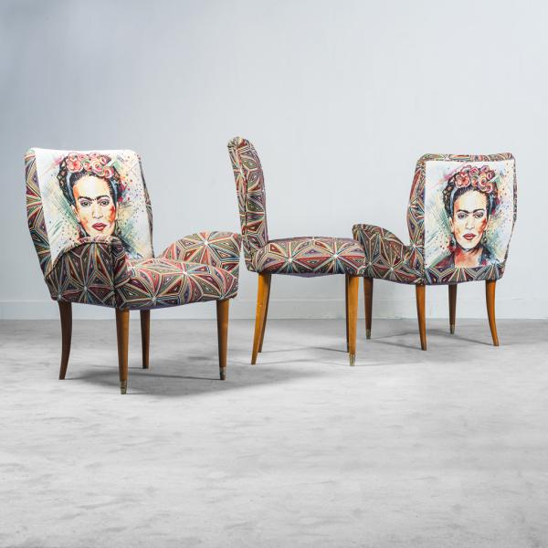 Set 3 poltrone tessuto fantasia Frida anni '50 Vintage Modernariato