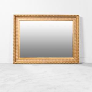 Specchio rettangolare legno foglia oro anni '70 vintage modernariato