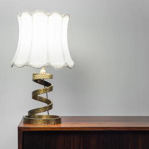 Lampada da tavolo ottone bouclé anni '70 Vintage Modernariato