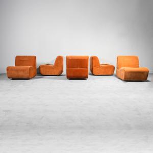 Divano modulare in tessuto arancione anni '70 Vintage Modernariato