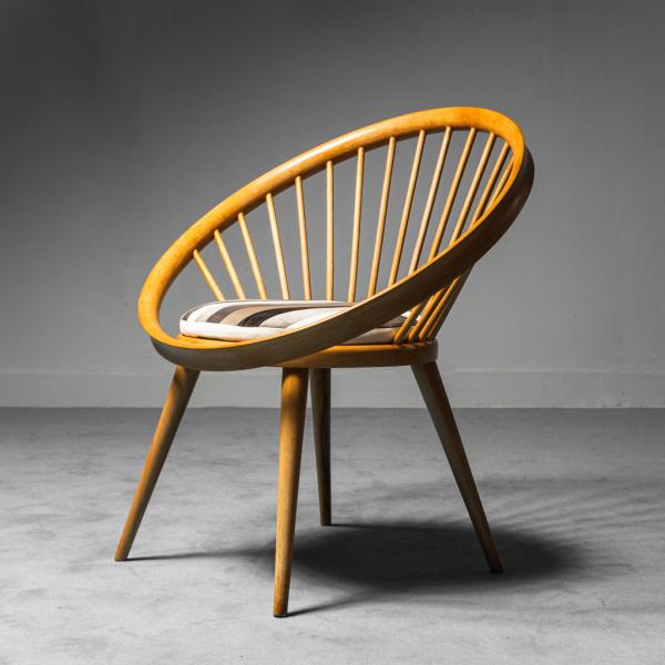 Poltrona circolare cuscino in velluto Ekström anni '60 Vintage Modernariato