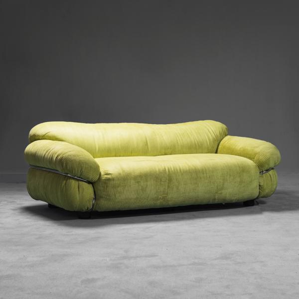 Divano 3 posti tessuto verde metallo tubolare anni '70 Vintage Modernariato