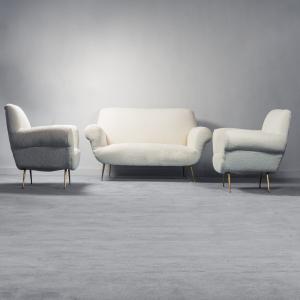 Set divano 2 poltrone bouclé bianco anni '50 vintage modernariato