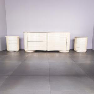 Set cassettiera 2 comodini in legno Meba anni '70 modernariato vintage