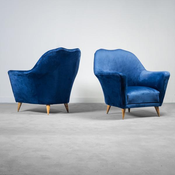 Coppia di poltrone velluto blu Ico Parisi anni '50 Vintage Modernariato
