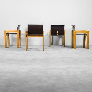 Set 4 sedie in legno stile Tobia Scarpa anni '70 Vintage Modernariato