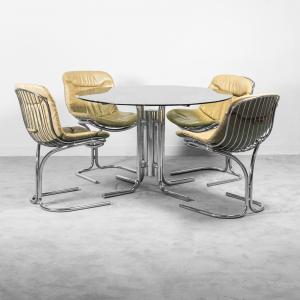 Set da pranzo tavolo quattro sedie Rinaldi anni '70 Vintage Modernariato