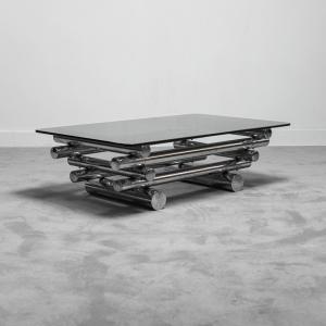 Tavolino da caffè metallo Paul Mayer anni '70 Vintage Modernariato