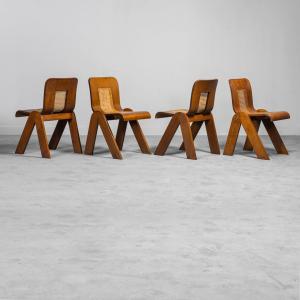Set 4 sedie in legno paglia di vienna anni '70 Vintage Modernariato