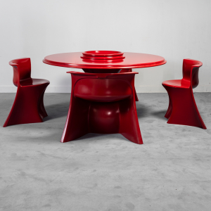 Set tavolo 4 sedie rosso Spadolini 1P anni '60 Vintage Modernariato