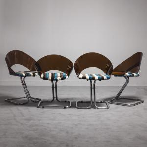 SET 4 sedie tubolari stile Faleschini anni '70 Modernariato Vintage