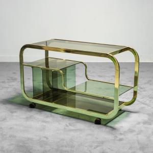 Carrello bar in metallo dorato vetro fumé anni '70 Vintage Modernariato