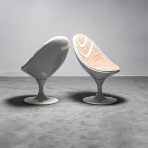 Coppia di POLTRONE ovali Space age ANNI '70 VINTAGE Modernariato