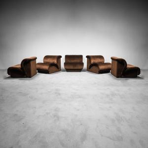 Divano 5 moduli tessuto Doimo anni '70 Modernariato Vintage