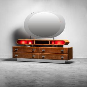Mobile specchiera legno alcantara anni '70 Vintage Modernariato