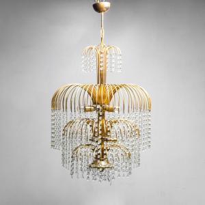 Lampadario a 10 luci in metallo dorato anni '70 Vintage Modernariato