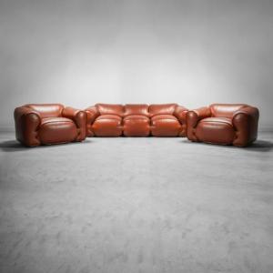 Set divano due poltrone B&T Salotti anni '70 vintage modernariato
