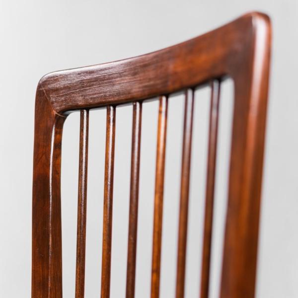 Set 3 sedie da ufficio legno e pelle anni '50 Vintage modernariato