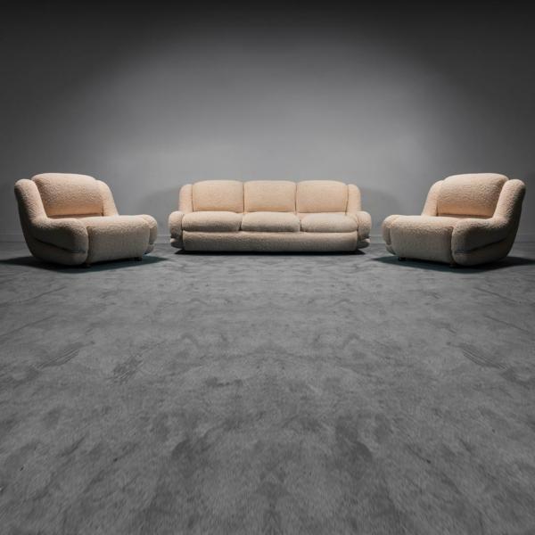 Set divano due poltrone bouclé tubolare anni '70 Vintage