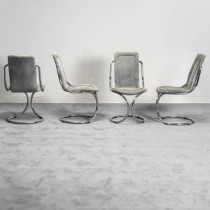Set 4 sedie in tessuto metallo tubolare anni '70 Vintage