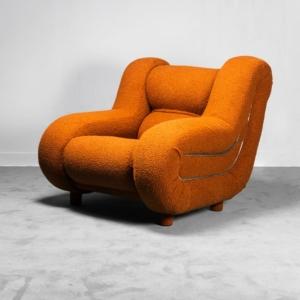 Poltrona bouclé arancione metallo anni '70 Vintage Modernariato