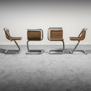 Set 4 sedie tessuto metallo tubolare anni '70 Vintage