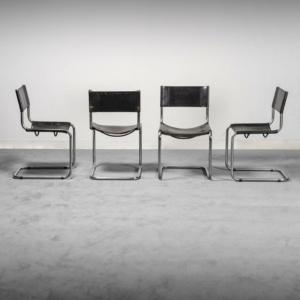 Set 4 sedie in cuoio nero Stile Matteo grassi anni '70 Vintage