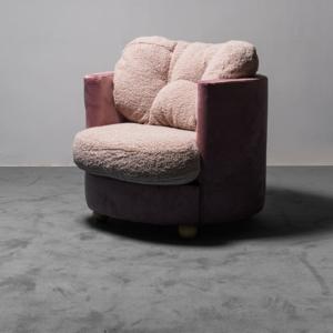 Poltrona in velluto e bouclé rosa anni '70 Vintage Modernariato